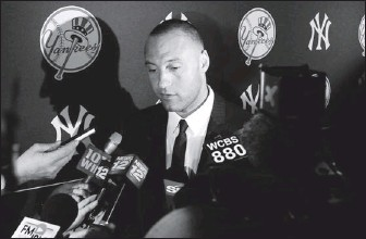 """?? By Debby Wong, US Presswire ?? Center of attention: Derek Jeter is a veteran at coping with the news reporters who cover the Yankees. """"We make it a point to be strategically proactive"""" in dealing with the media, Yankees media relations director Jason Zillo says."""