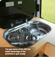 ??  ?? The gas stove of the V80 kit takes advantage of the plumbed-in gas supply