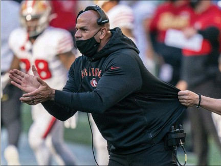 ?? ASSOCIATED PRESS FILE PHOTO ?? San Francisco 49ers defensive coordinator Robert Saleh, a Dearborn native, is one of the NFL's leading minority head coaching candidates.