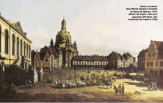 ??  ?? Centre of culture: New Market Square in Dresden by Bernardo Bellotto, 1747; (below) the Kyrie's cello part; (opposite) CPE Bach, who conducted the Credo in 1786