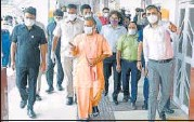 ?? SOURCED ?? Chief Minister Yogi Adityanath inspecting the mega vaccination drive at KD Singh 'Babu' stadium in Lucknow on Tuesday.