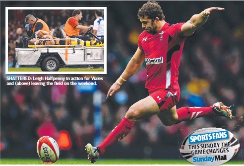 ??  ?? SHATTERED: Leigh Halfpenny in action for Wales and (above) leaving the field on the weekend.