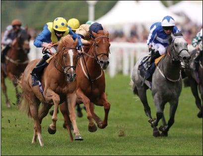 ??  ?? Ryan Moore, left, guides Dream of Dreams to victory in the Diamond Jubilee Stakes at Royal Ascot