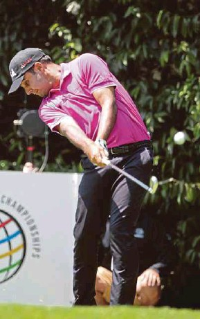 ?? EPA PIC ?? Shubhankar Sharma in action during the third round of the WGC Mexico Championship on Saturday.