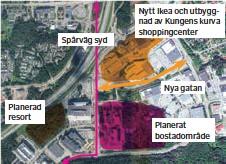 ??  ?? NY HUVUDGATA. Den orangea pilen pekar ut den nya huvudgata som kan komma att döpas efter Ingvar Kamprad.
