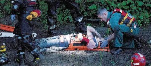 ?? Joel Goodman ?? The dramatic rescue after Emma fell 30ft from the Stockport caves used by homeless people