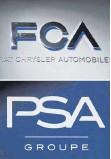 ?? FOTO: DPA ?? Logos von Fiat-Chrysler und PSA: Mit der Fusion entsteht der viertgrößte Autobauer der Welt.