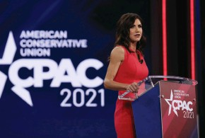 """??  ?? THE MAGA GOVERNOR Noem was rumored to be a possible replacement for Mike Pence. At CPAC, she defended Trump and attacked science, saying, """"Dr. Fauci is wrong a lot."""""""