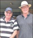 ??  ?? ■ Collingwood supporters James Rhook and Tony Tonta at the Navorina Auxiliary Charity Golf Day.