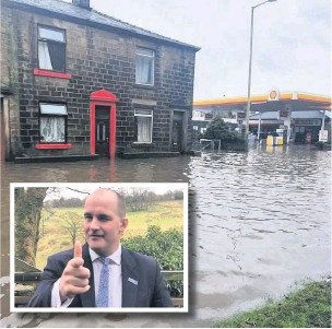?? Ses Gee ?? In February Storm Ciara brought flooding while (inset) Rossendale MP Jake Berry celebrated the Britain left the EU