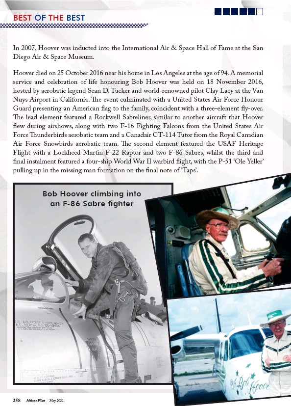 ??  ?? Bob Hoover climbing into an F-86 Sabre fighter
