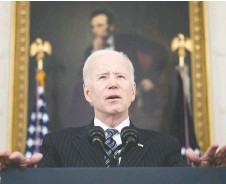 ?? BRENDAN SMIALOWSKI/AFP VIA GETTY IMAGES ?? U.S. President Joe Biden is expected to release his proposal on raising capital gains taxes next week as part of the tax increases to fund social spending.