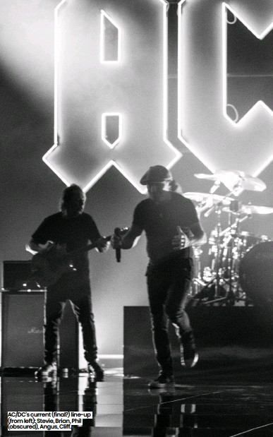??  ?? AC/DC's current (final?) line-up (from left): Stevie, Brian, Phil (obscured), Angus, Cliff.