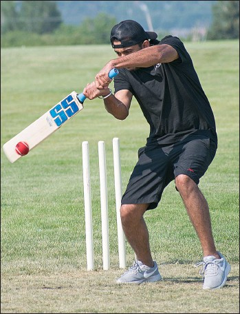 ?? STEVEN MAH/SOUTHWEST BOOSTER ?? Batsman 'Sherry' was making solid contact at the Windscape Cricket Field on Saturday.
