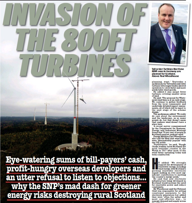 ??  ?? Tall order: Turbines like these 809ft ones in Germany are planned for Scotland. Above: Paul Wheelhouse 13