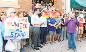 ?? MORNING CALLFILE PHOTO ?? Bradbury-Sullivan LGBT Community Center Executive Director Adrian Shanker speaks at a vigil in 2016 to raise awareness about violence against the LGBT community and to memorializ­e the victims of the massacre at the Pulse Nightclub in Orlando, Florida.