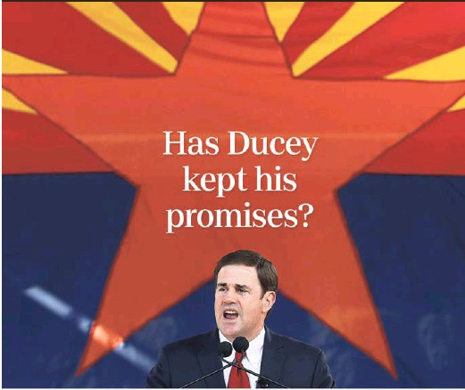 """?? ROSS D. FRANKLIN/AP ?? In 2014, then-candidate Doug Ducey issued a 10-point """"pledge to the people of Arizona."""" In it, he made a series of promises outlining what he would do if elected governor to cut taxes, protect gun rights and improve school choice, among other vows."""