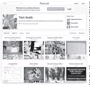 """??  ?? Life planner: Trish Smith's Pinterest board shows her plans for a """"countrytale"""" wedding, as well as a future interest in """"makin babies."""" """"I'll be using this for years to come,"""" she says."""