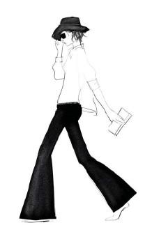 ??  ?? Lo sketch realizzato per Seafarer da Garance Doré, famosa blogger di moda. Accanto, una silhouette Biani.