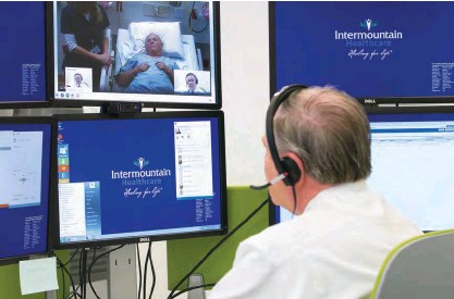 ??  ?? Intermountain has installed videoconferencing setups in 1,000 rooms across its 22 hospitals.