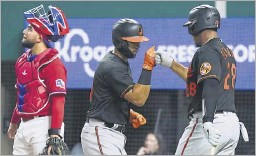 ?? Smiley N. Pool/staff Photographer ?? Orioles second baseman Rio Ruiz (left) celebrates with Pedro Severino after his solo home run in the fourth inning as Rangers catcher Jose Trevino looks away.