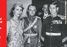 ??  ?? Los príncipes Olga y Paul de Yugoslavia, abuelos de Catherine Oxenberg, con el futuro rey Miguel de Rumania, durante un baile con motivo de la coronación de George VI de Inglaterra en Londres (1937).
