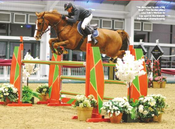 """??  ?? """"He deserved to win a big final"""": Tim Davies pilots Lisa Volk's Nielson to top spot in the historic Foxhunter championship"""