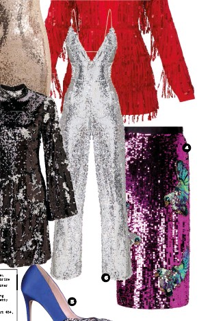 ??  ?? 1. Statement stone tassel earrings €15.90, Accessorize 2. Black Embellished Choker €11.99, New Look 3. Red Tassel Sequin Long Sleeve Playsuit €65, Pretty Little Thing 4. Pink sequin midi skirt €64, Miss Selfridge 5. Cobalt Blue Embellished Courts...