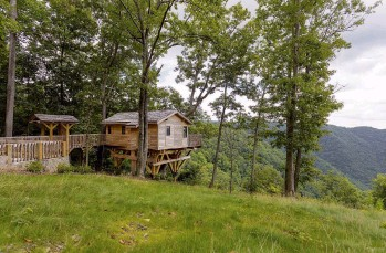 ?? Primland, Auberge Resorts Collection ?? The Golden Eagle treehouse at Primland Resort in Virginia is accessed by a bridge.