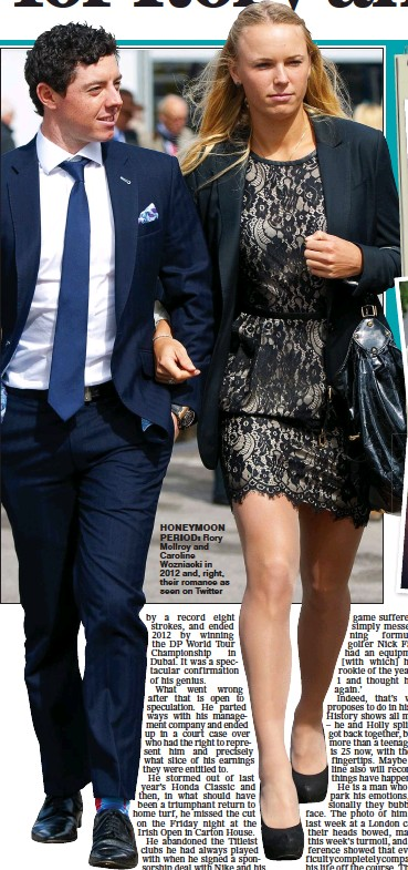 ??  ?? honeymoon period: Rory McIlroy and Caroline Wozniacki in 2012 and, right, their romance as seen on Twitter