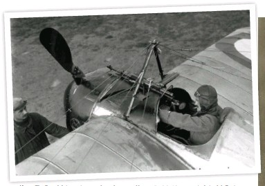 ??  ?? ■ Above: The French interrupter gear (seen here on a Morane Saulnier) incorporated steel deflector plates on the back of the propeller blades to deal with rounds that accidentally fired when the blade was directly in front of the gun muzzle. As he prepares for flight, the French pilot has an obligatory Gauloises cigarette dangling from his bottom lip!