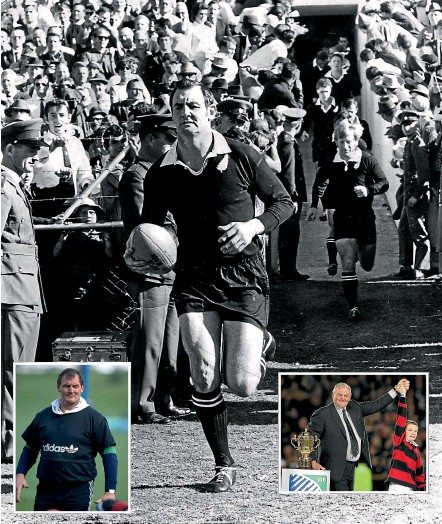 ??  ?? Sir Brian Lochore filled many roles in New Zealand rugby. He was an outstanding All Blacks captain (main picture); inset left, he coached the team to World Cup glory in 1987; inset right, at the 2011 World Cup final in Auckland.