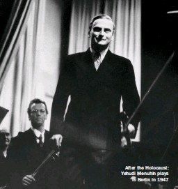 ??  ?? After the Holocaust: Yehudi Menuhin plays in Berlin in 1947