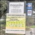 ??  ?? A 'say no to homes' sign at the B&B entrance