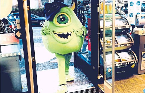 """??  ?? """"SPREADING JOY"""": Monster Inc's Mike is a popular figure in Letham alongside fellow movie character Sully."""