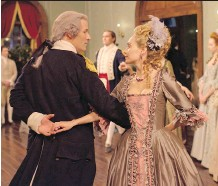 ?? ANTONY PLATT/AMC ?? The floral fabric in the centre panel of Peggy Shippen's (Ksenia Solo) ball gown are from a piece that Turn's costume designer Lahly Poore-Ericson found in an antiquities shop in London.