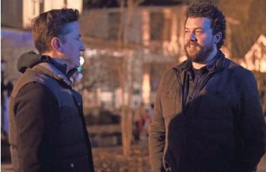 "?? RYAN GREEN/UNIVERSAL ?? ""Halloween"" director David Gordon Green, left, talks with co-writer Danny McBride on the set of the new sequel."