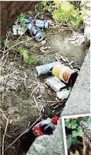 ??  ?? Müllhalde in der City: Dosen, Plastikflaschen oder Kleiderfetzen werden hier deponiert.