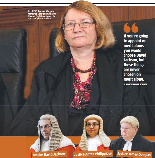 ??  ?? ALL RISE: Justices Margaret McMurdo (left) and Catherine Holmes (right) are tipped for the chief justice position.