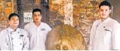 ??  ?? Neemrana's chef Rakesh Negi, F&B manager Sandeep Sharma and chef Giuseppe Russo outside Kattoria