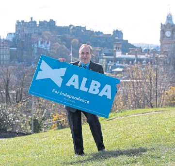 ??  ?? FOCUS: Alex Salmond says only the Alba Party is treating independence as a priority.