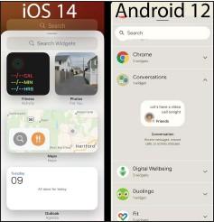 ??  ?? Android 12 versus iOS 14.