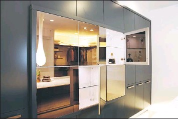 Entertaining In Ptyie The Highly Reflective Surfaces On This Wall Cabinet Open Up To Reveal More Storage E That You Can Highlight Or Leave Hidden