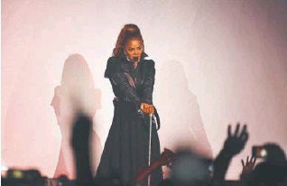??  ?? Janet Jackson performs during her State of the World Tour stop on Oct. 17 at Denver's Pepsi Center. The show had been delayed for two years.