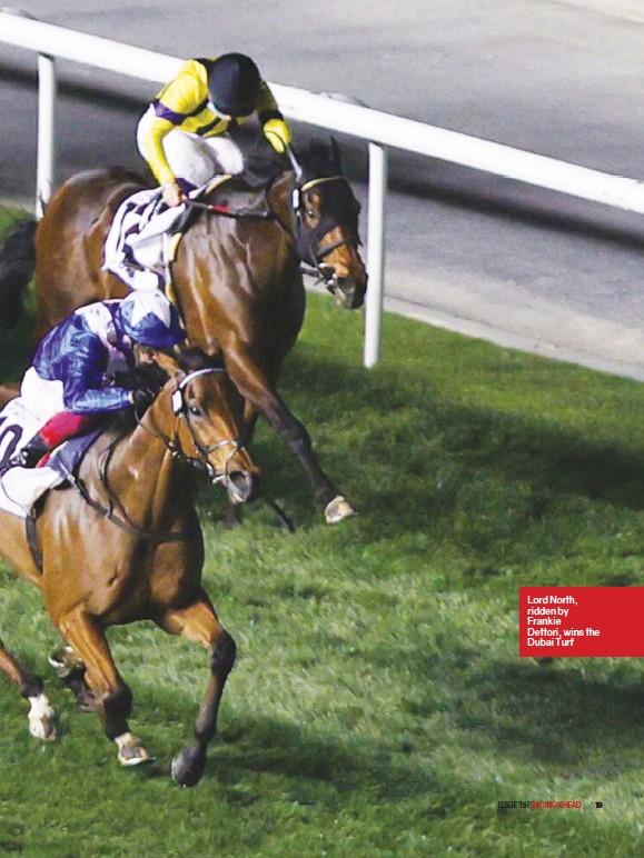 ??  ?? Lord North, ridden by Frankie Dettori, wins the Dubai Turf