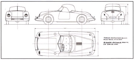 ??  ?? Left: Drawing 356.00.104 showed a further elaboration ofthe July 17 design, giving details ofits bumpers, relatively small doors and possible folding top. This was the design's status after the first mid1947 flurry of activity