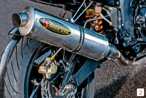 ??  ?? 2 4-2-1 full system 2 keeps the midrange strong. With ceramic-coated headers to keep temperatures under the fairing to a minimum