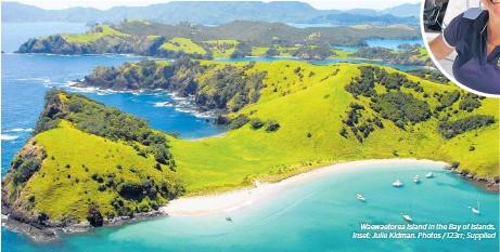 ??  ?? Waewaetorea Island in the Bay of Islands. Inset: Julie Kidman. Photos / 123rr; Supplied