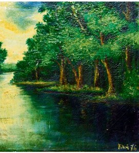 ??  ?? One of the artist's early works called My Home Town, Padang River, Tapah, Perak (oil on canvas, 1976).