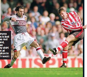 ?? GETTY IMAGES ?? Deja vu: Bruno Fernandes is lost against the red background, just as Ryan Giggs' grey shirt blended in at Southampton in 1996